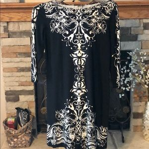 HAANI Black/White Dress With 3/4 Sleeves
